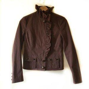 Anthropologie ELEVENSES Brown Ruffle Trim Jacket 4